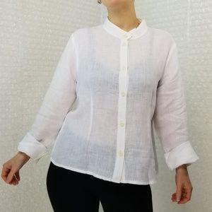 Flax white linen longsleeve button-up